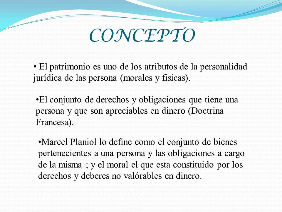 CONCEPTO El patrimonio es uno de los atributos de la personalidad jurídica de las persona (morales y físicas).