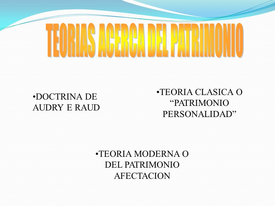 TEORIAS ACERCA DEL PATRIMONIO
