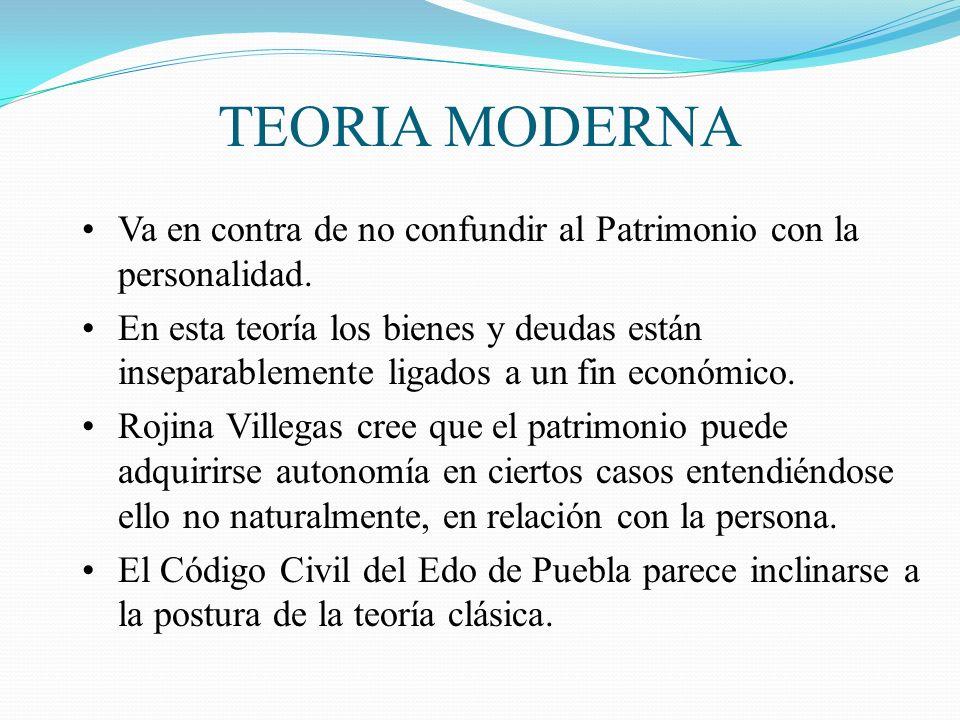 TEORIA MODERNA Va en contra de no confundir al Patrimonio con la personalidad.