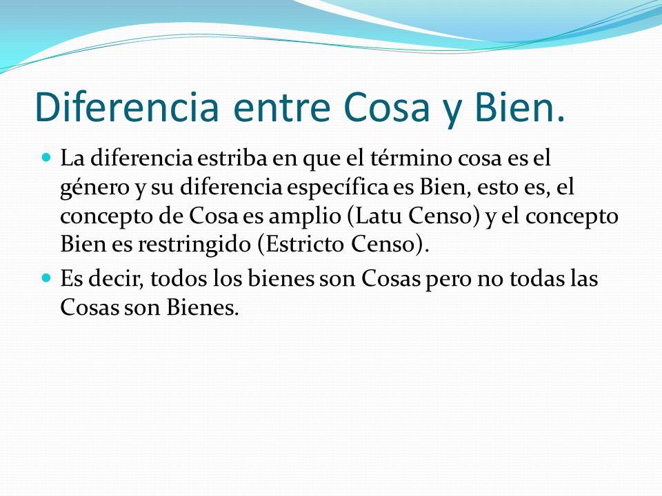 Diferencia entre Cosa y Bien.