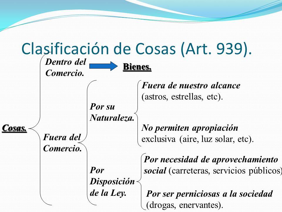 Clasificación de Cosas (Art. 939).
