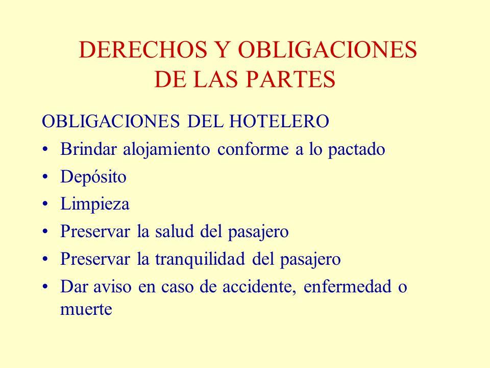 DERECHOS Y OBLIGACIONES DE LAS PARTES