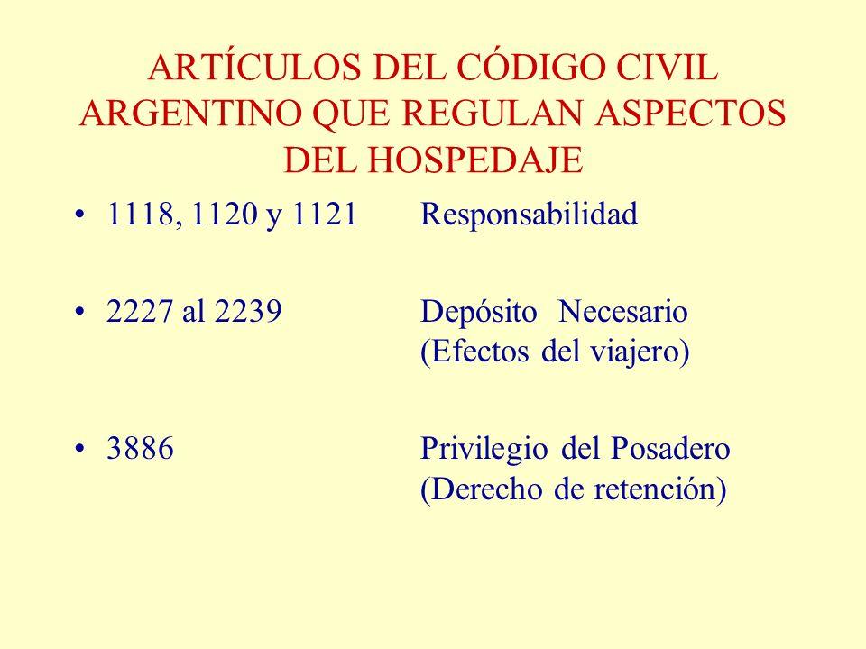 ARTÍCULOS DEL CÓDIGO CIVIL ARGENTINO QUE REGULAN ASPECTOS DEL HOSPEDAJE