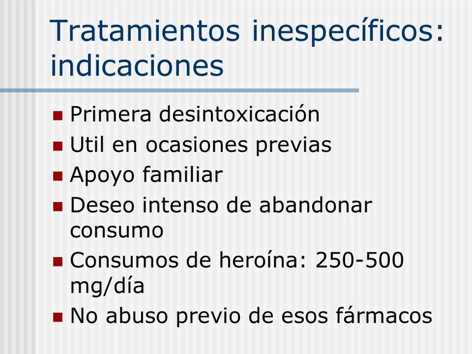 Tratamientos inespecíficos: indicaciones