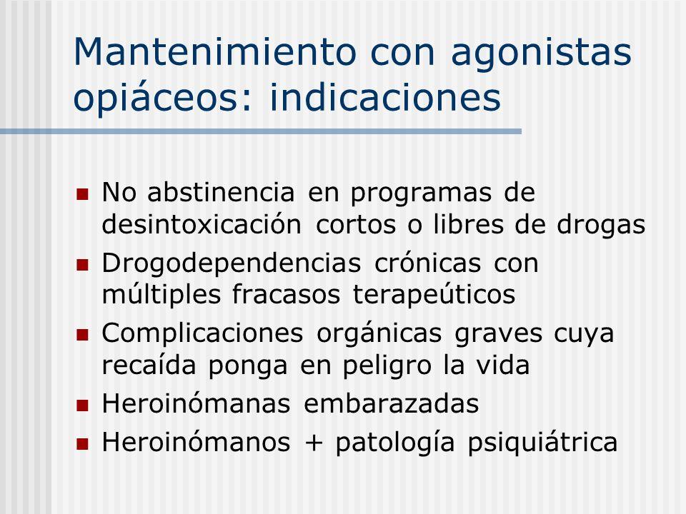 Mantenimiento con agonistas opiáceos: indicaciones