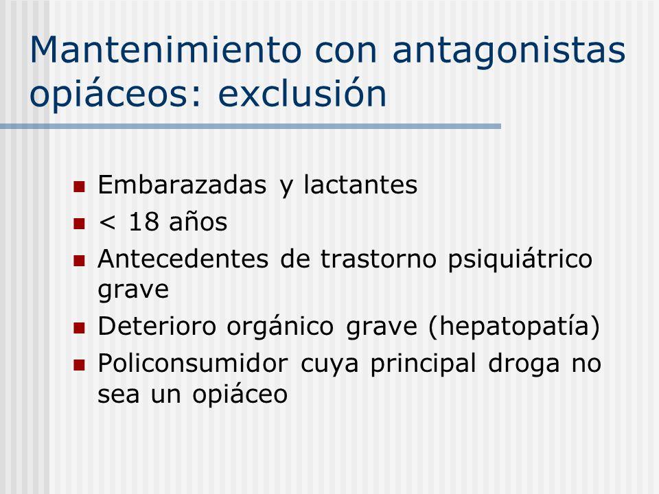 Mantenimiento con antagonistas opiáceos: exclusión