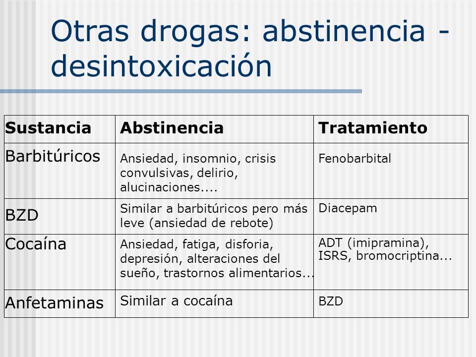 Otras drogas: abstinencia - desintoxicación