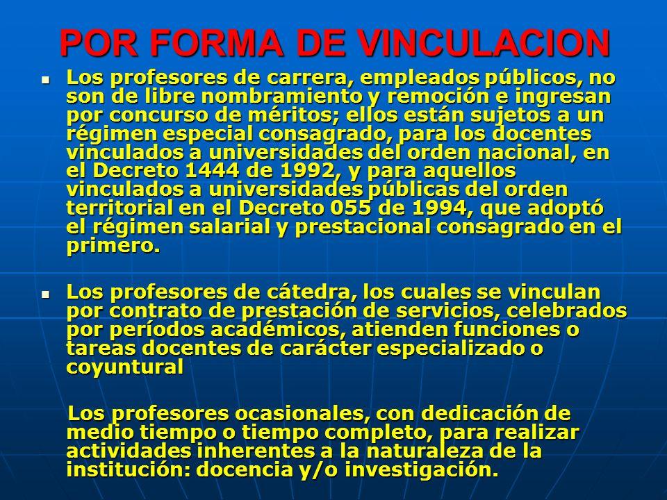 POR FORMA DE VINCULACION