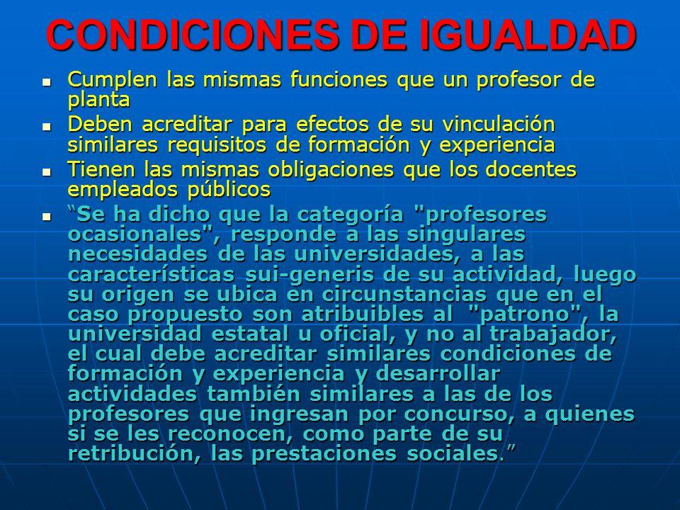 CONDICIONES DE IGUALDAD