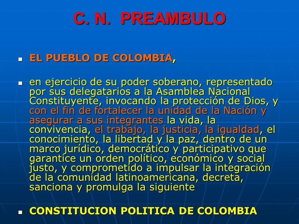 C. N. PREAMBULO EL PUEBLO DE COLOMBIA,