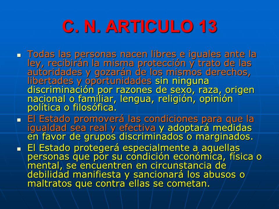 C. N. ARTICULO 13