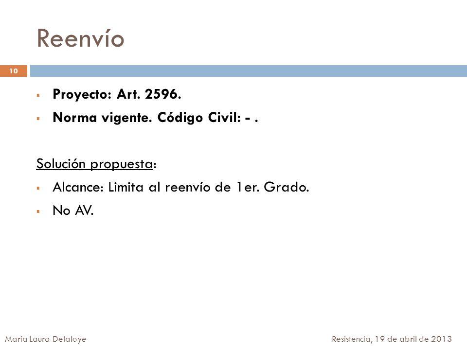 Reenvío Proyecto: Art. 2596. Norma vigente. Código Civil: - .