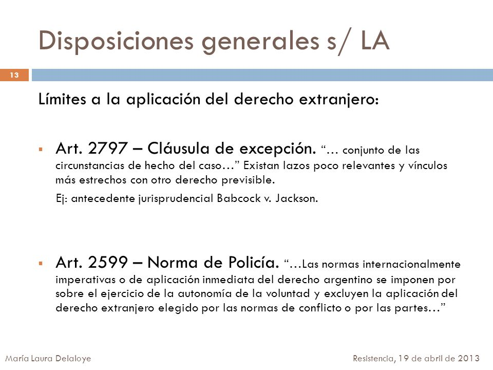 Disposiciones generales s/ LA