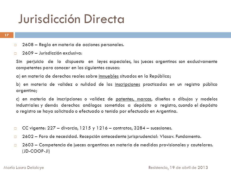 Jurisdicción Directa 2608 – Regla en materia de acciones personales.