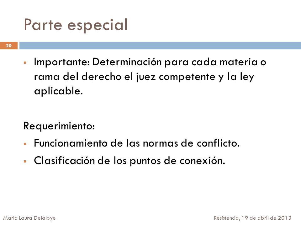 Parte especial Importante: Determinación para cada materia o rama del derecho el juez competente y la ley aplicable.