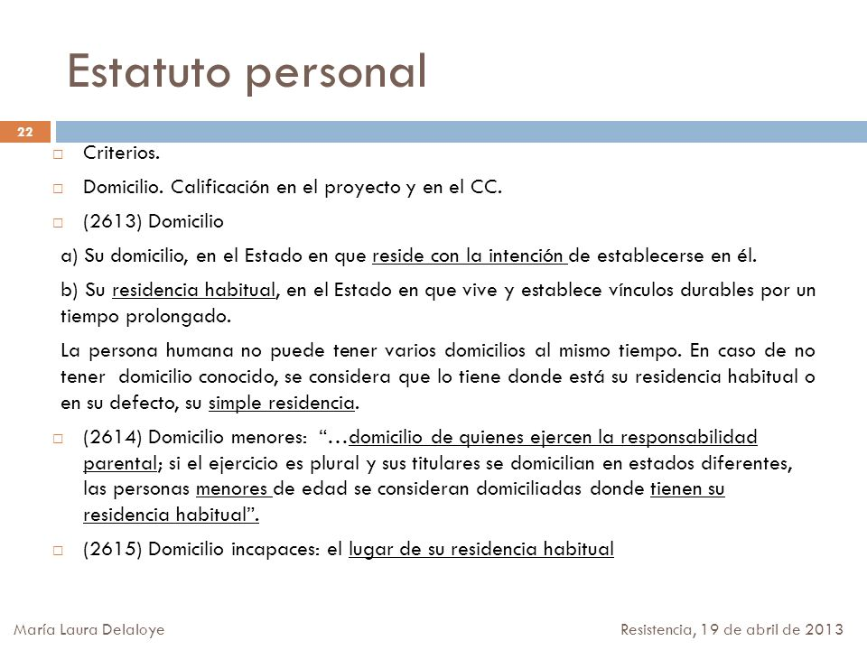 Estatuto personal Criterios.