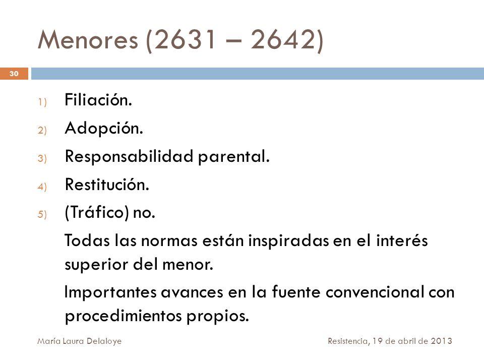 Menores (2631 – 2642) Filiación. Adopción. Responsabilidad parental.