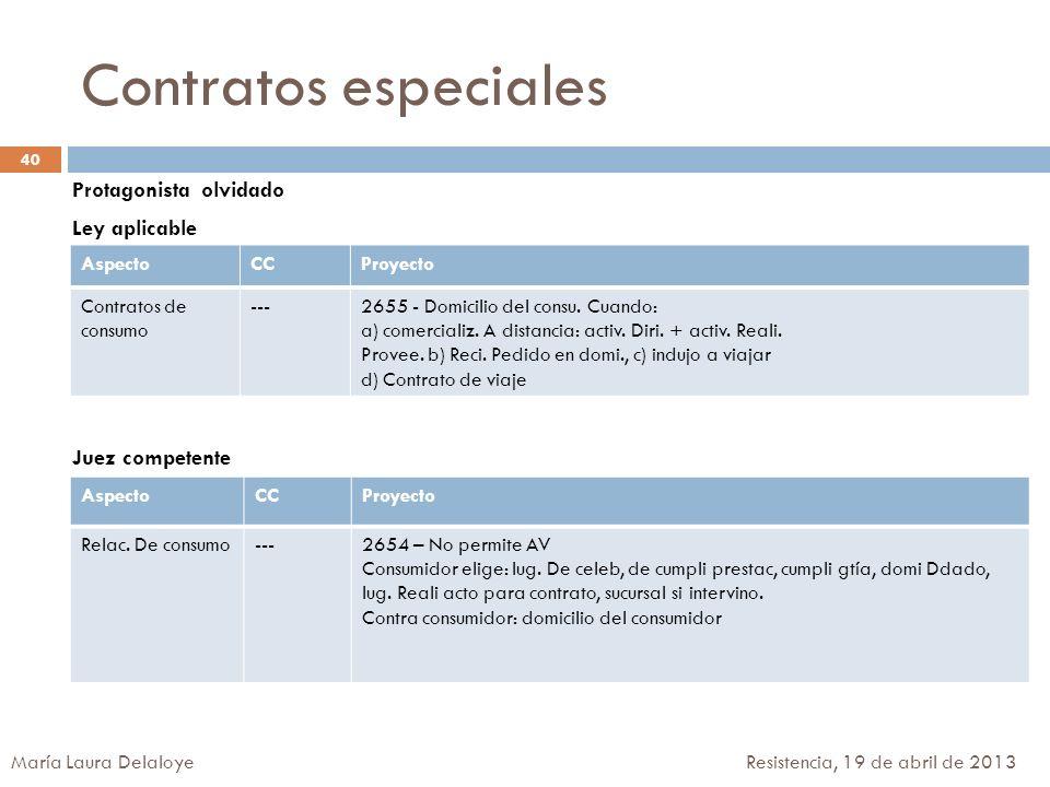 Contratos especiales Protagonista olvidado Ley aplicable Juez competente Aspecto. CC. Proyecto.
