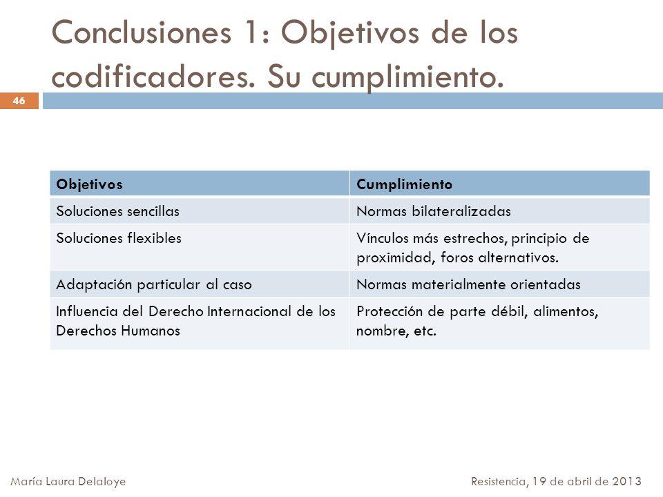 Conclusiones 1: Objetivos de los codificadores. Su cumplimiento.