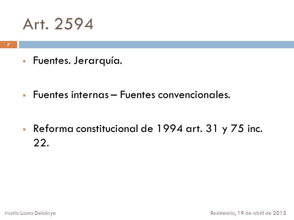 Art. 2594 Fuentes. Jerarquía. Fuentes internas – Fuentes convencionales. Reforma constitucional de 1994 art. 31 y 75 inc. 22.