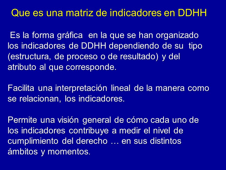 Que es una matriz de indicadores en DDHH