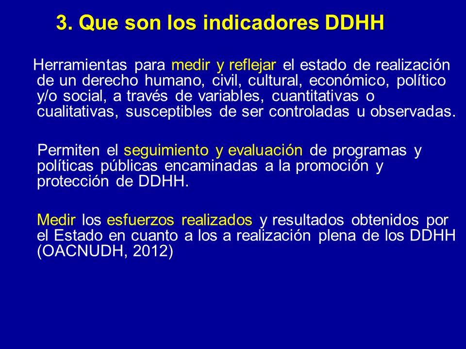 3. Que son los indicadores DDHH