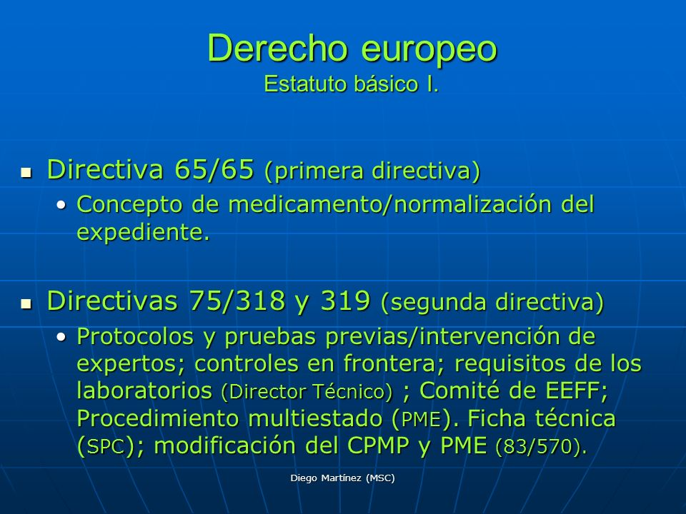Derecho europeo Estatuto básico I.