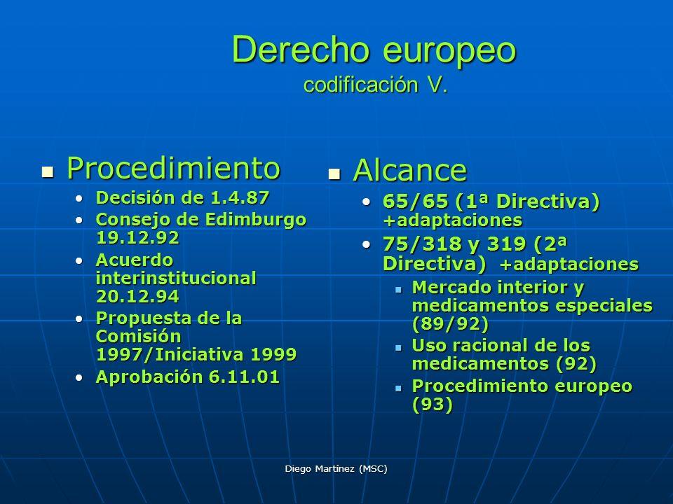 Derecho europeo codificación V.