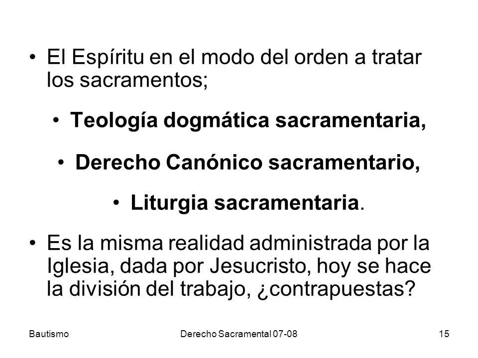 Teología dogmática sacramentaria, Derecho Canónico sacramentario,