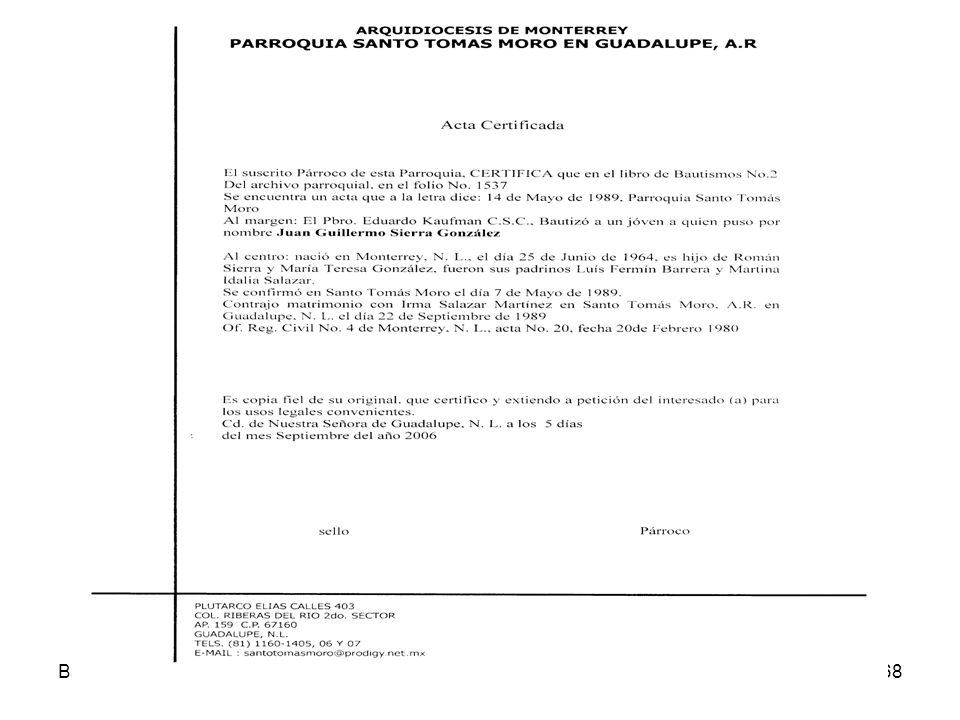 Acta Certificada Bautismo Derecho Sacramental 07-08