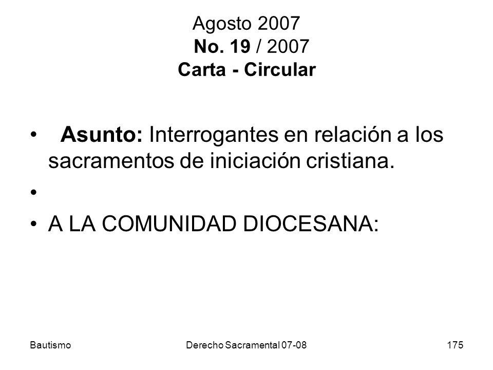 Agosto 2007 No. 19 / 2007 Carta - Circular
