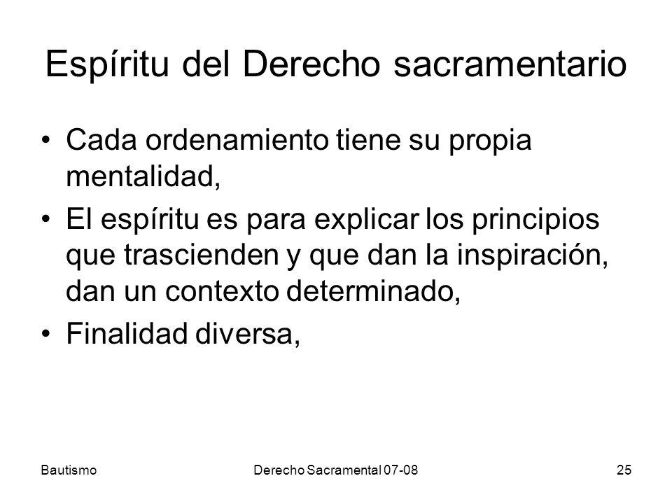 Espíritu del Derecho sacramentario