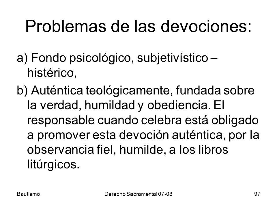 Problemas de las devociones: