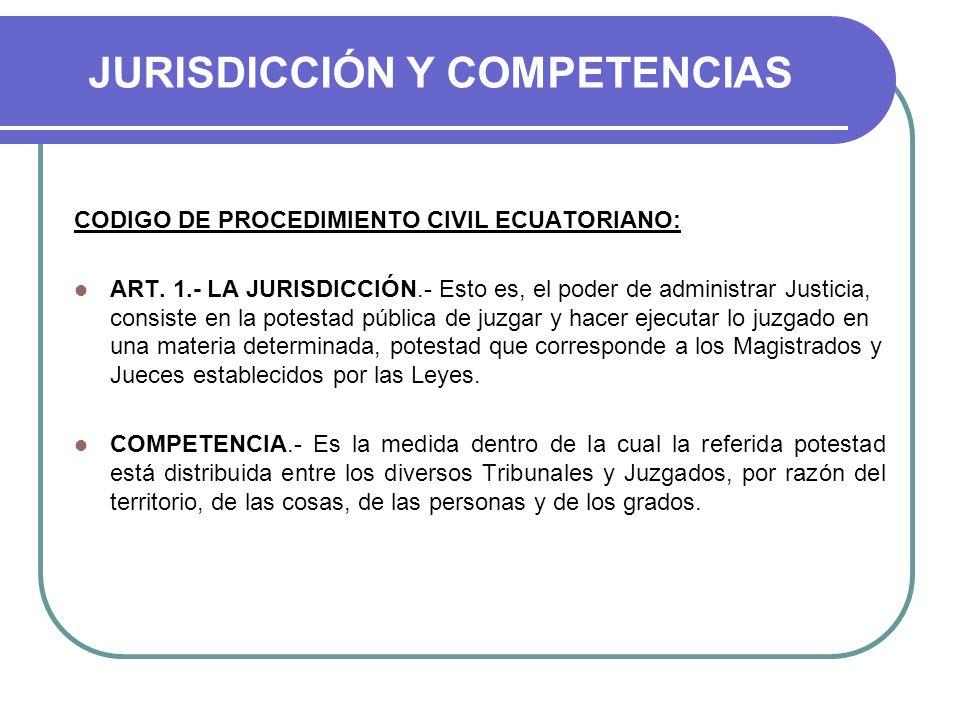 JURISDICCIÓN Y COMPETENCIAS