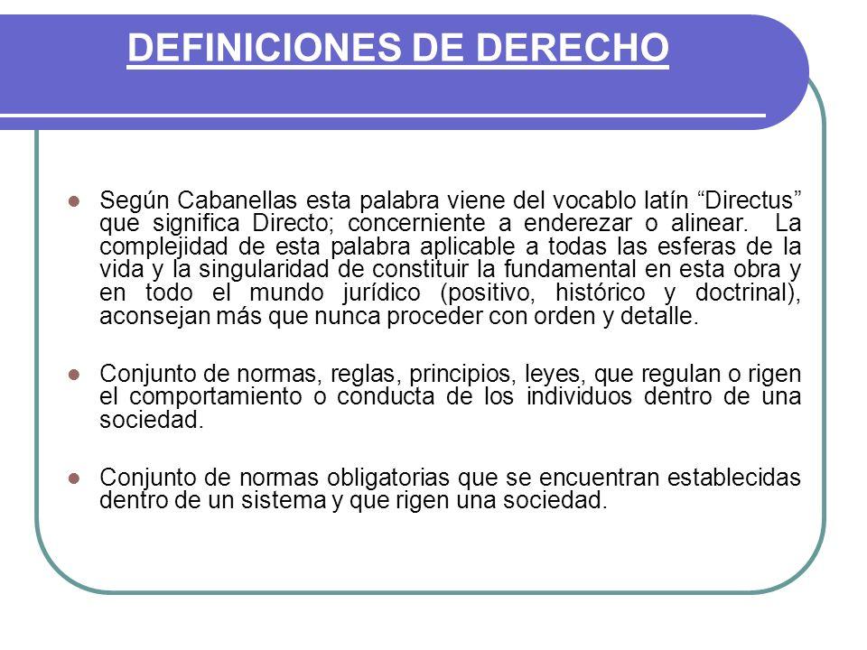 DEFINICIONES DE DERECHO