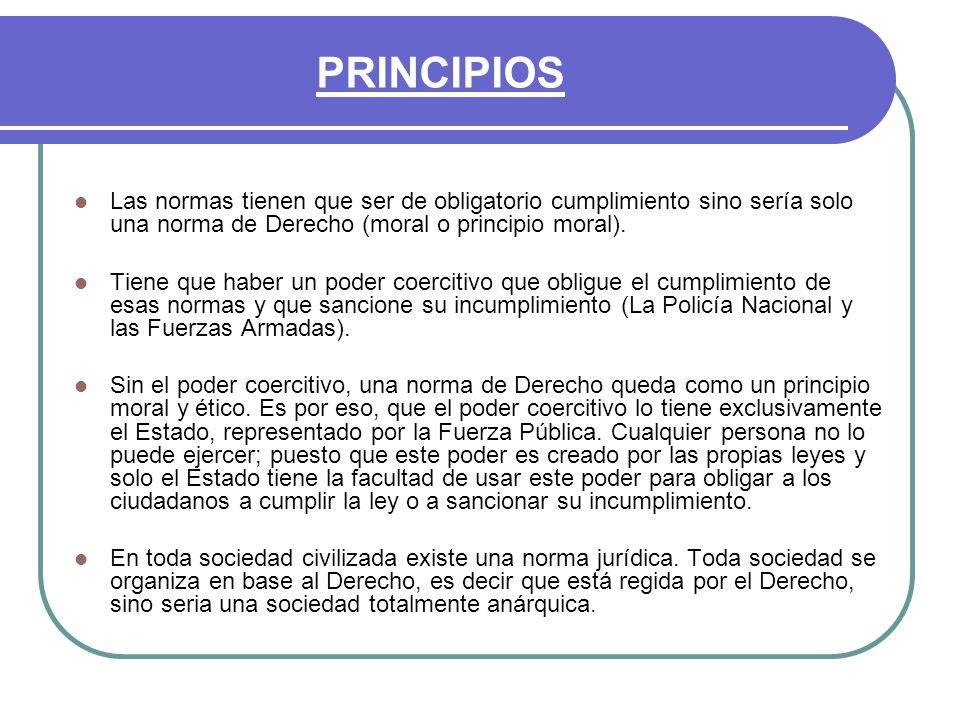 PRINCIPIOS Las normas tienen que ser de obligatorio cumplimiento sino sería solo una norma de Derecho (moral o principio moral).