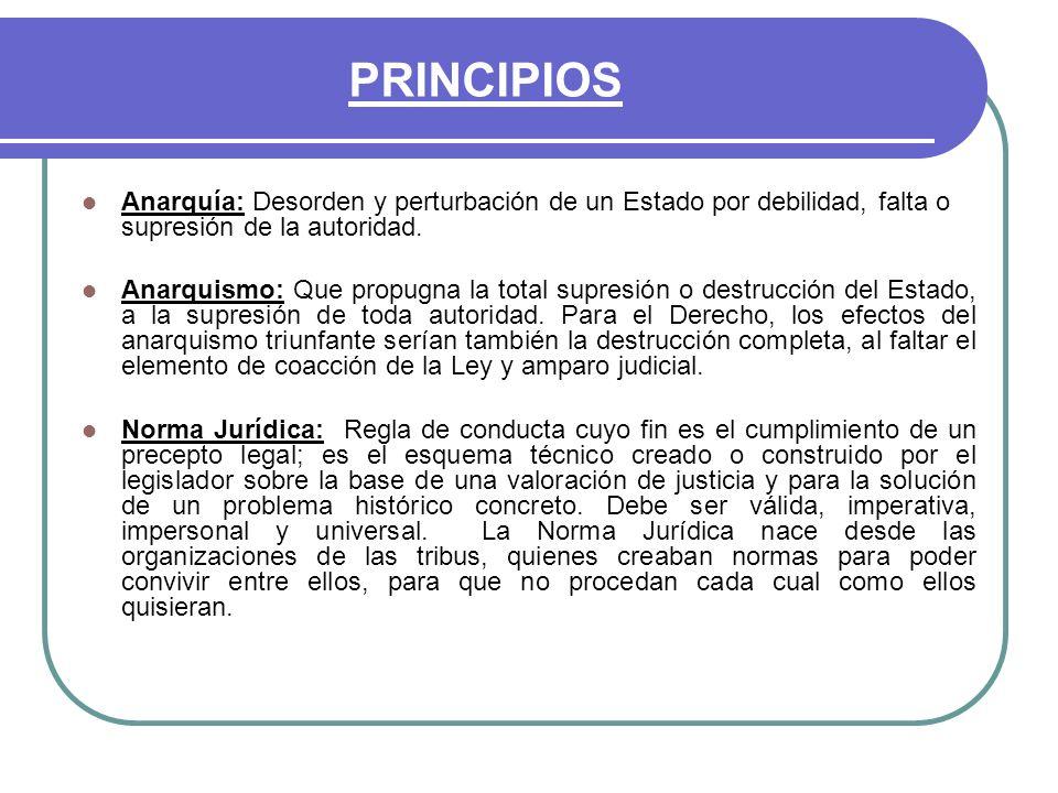 PRINCIPIOS Anarquía: Desorden y perturbación de un Estado por debilidad, falta o supresión de la autoridad.