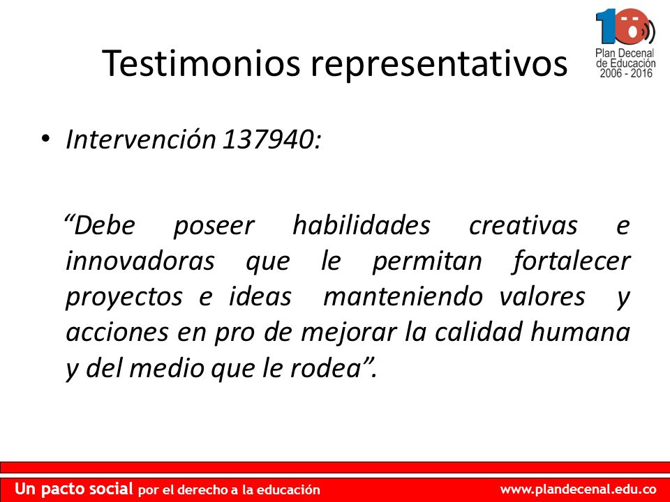 Testimonios representativos