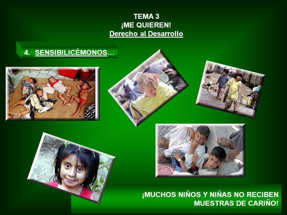 TEMA 3 ¡ME QUIEREN. Derecho al Desarrollo. SENSIBILICÉMONOS… ¡MUCHOS NIÑOS Y NIÑAS NO RECIBEN.
