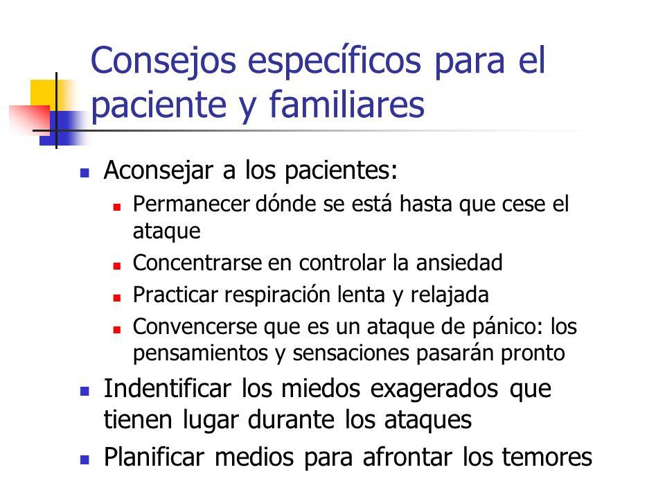 Consejos específicos para el paciente y familiares