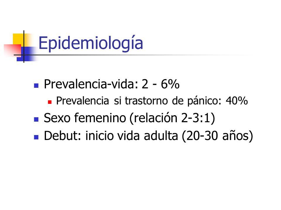 Epidemiología Prevalencia-vida: 2 - 6% Sexo femenino (relación 2-3:1)