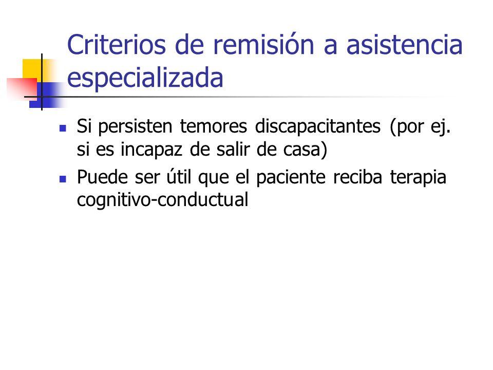 Criterios de remisión a asistencia especializada