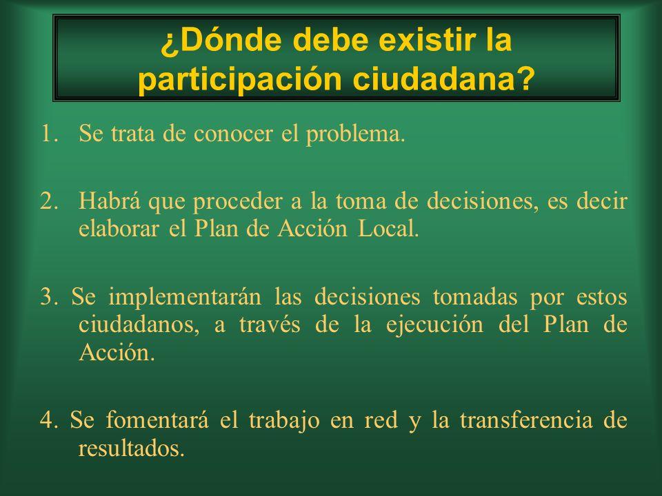 ¿Dónde debe existir la participación ciudadana