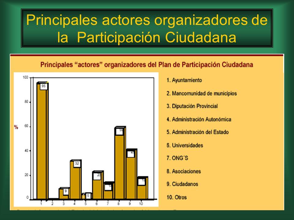 Principales actores organizadores de la Participación Ciudadana