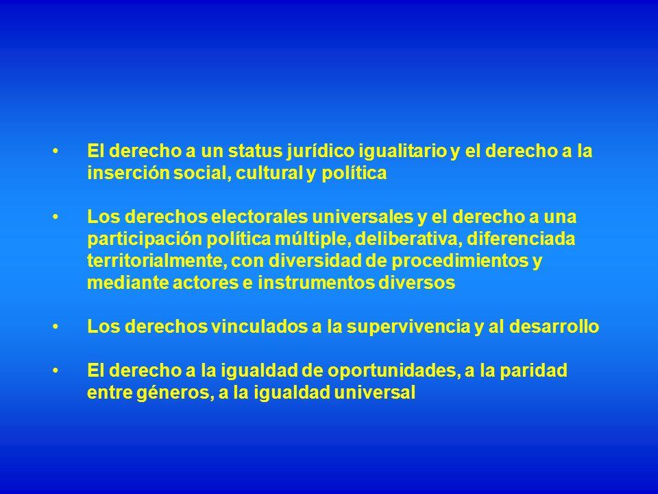 El derecho a un status jurídico igualitario y el derecho a la inserción social, cultural y política