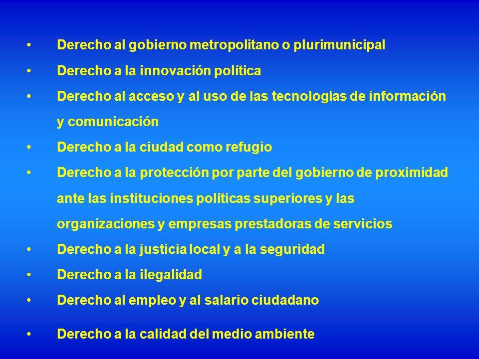 Derecho al gobierno metropolitano o plurimunicipal