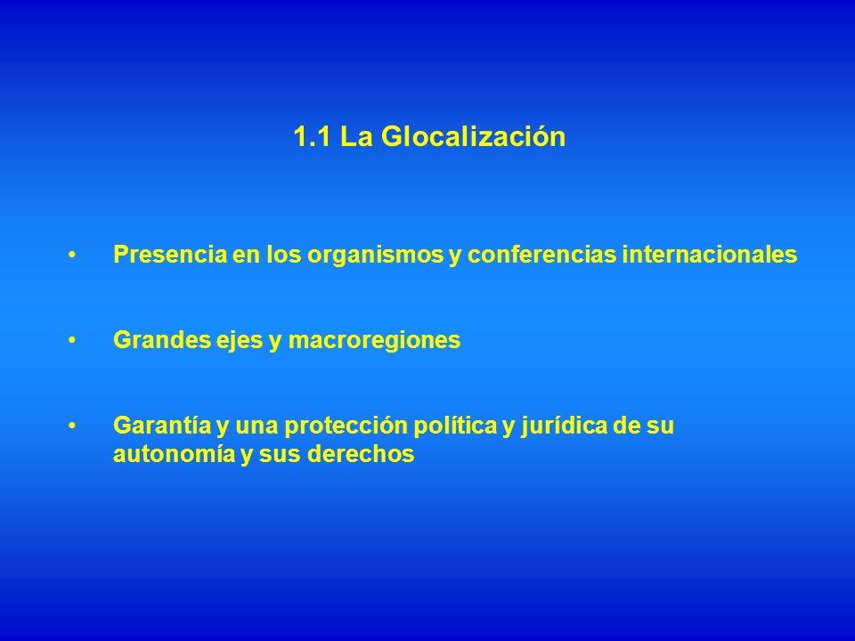 1.1 La Glocalización Presencia en los organismos y conferencias internacionales. Grandes ejes y macroregiones.