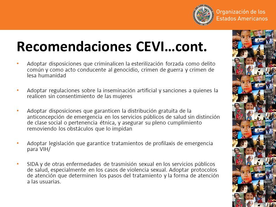 Recomendaciones CEVI…cont.