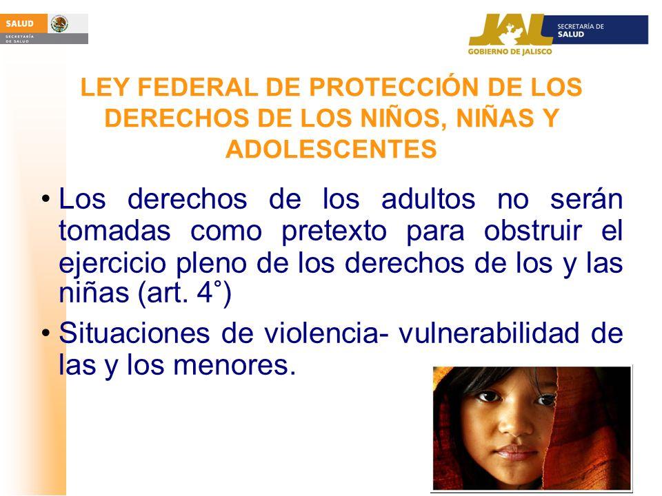 Situaciones de violencia- vulnerabilidad de las y los menores.