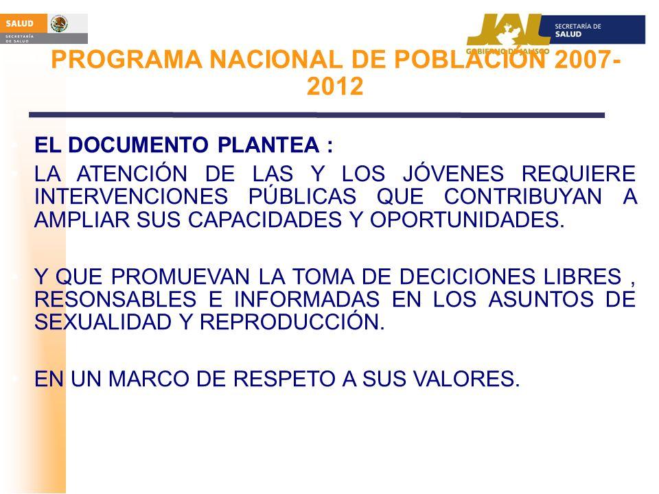 PROGRAMA NACIONAL DE POBLACIÓN 2007- 2012